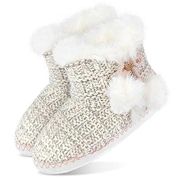 Zapatillas para estar por casa, cálidas, para mujer, botas con lazo y borlas: Amazon.es: Deportes y aire libre