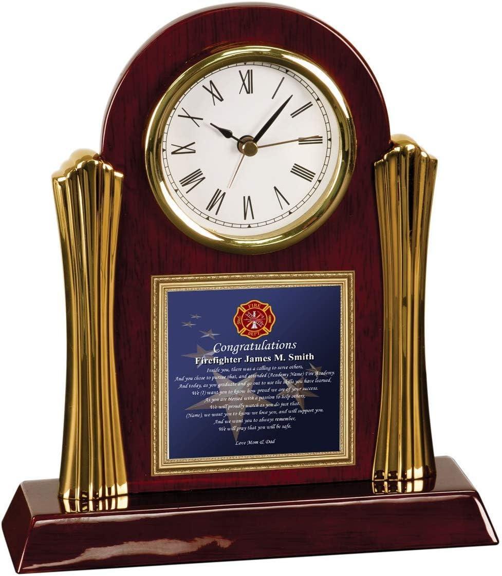 AllGiftFrames Personalized Poetry Gift Clock for Firefighter Academy School Graduation Gift Desk Clock Poem Plaque Fire Academy Present Fireman Graduate