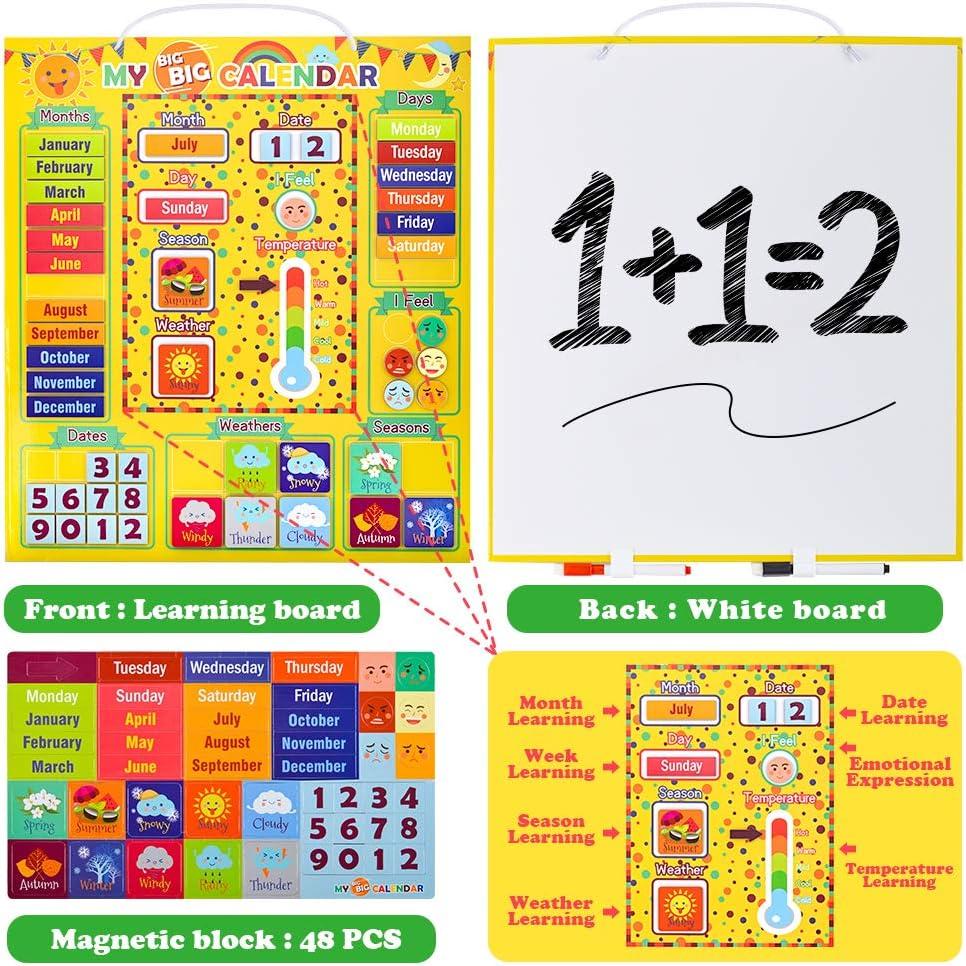 Calendario magn/ético diario Juguetes de aprendizaje preescolar Estaci/ón meteorol/ógica para ni/ños Ni/ñas Ni/ños Estado de /ánimo Emociones Conjunto de calendario de aula Utilizable en la pared o en