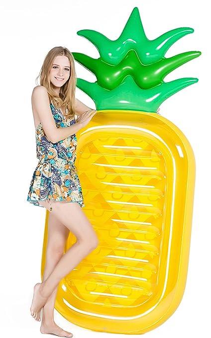 Jasonwell Piña Hinchable colchonetas Piscina Flotador Gigante de Piña Tumbona Flotadora/ Tumbona de Piscina Juguete para Adultos y Niños