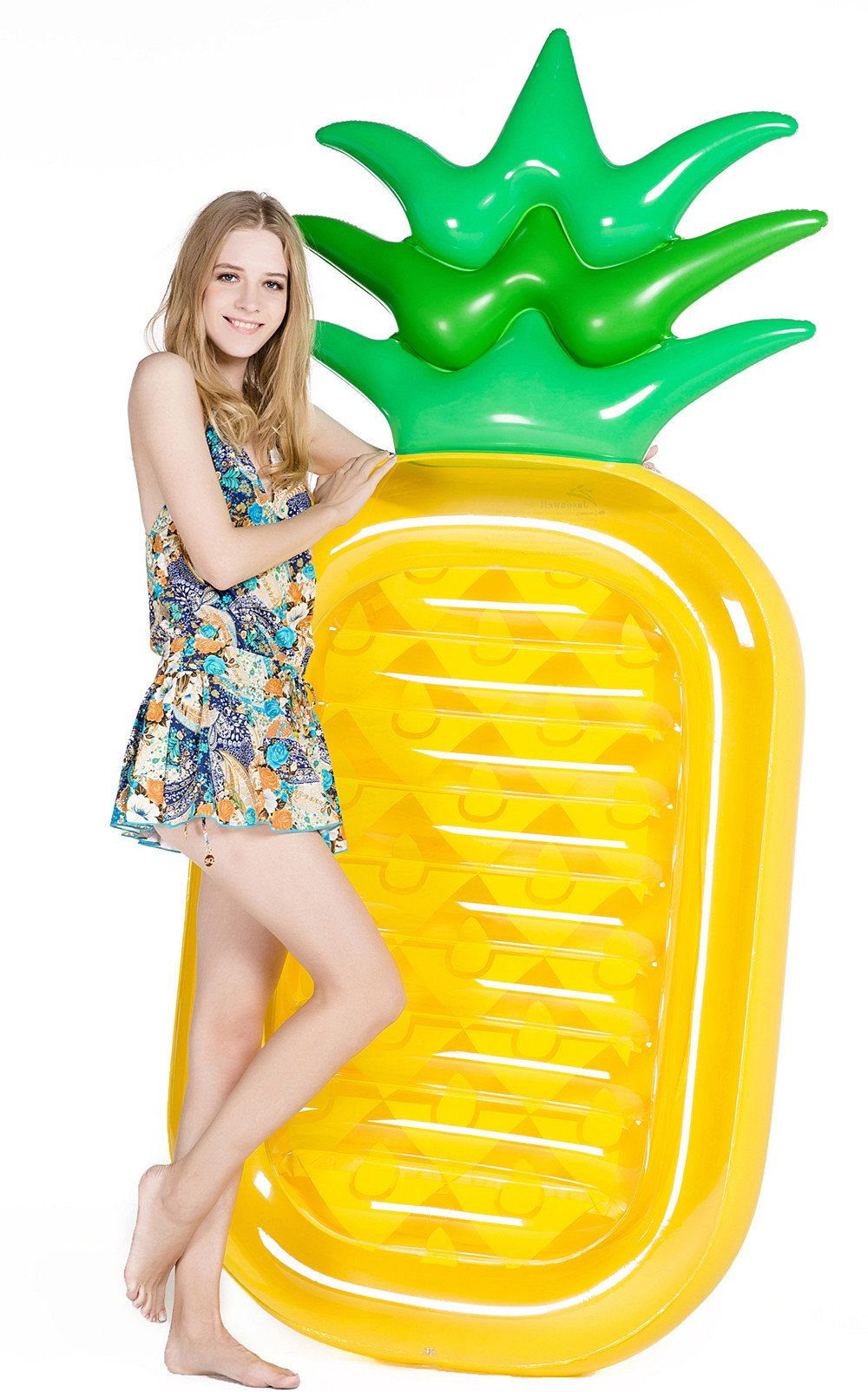 Jasonwell Giant 76'' Pineapple Pool Party Float Raft Summer Beach Swimming Pool Inflatable Floatie Lounge Pool Loungers Decorations Toys Adults & Kids