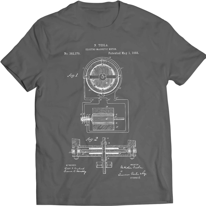 DTG Printing Tesla Electro Motor 1888 Camiseta 100/% Algod/ón