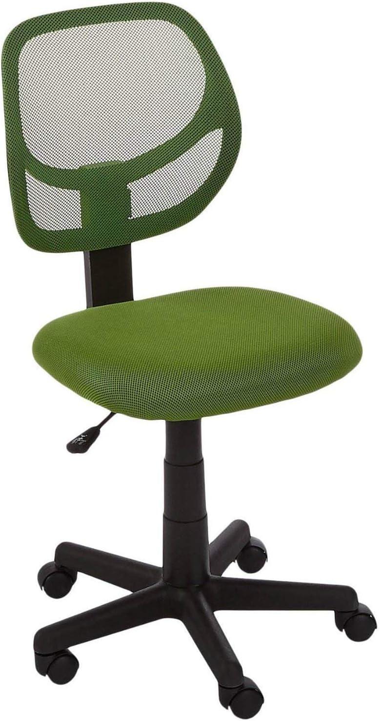 AmazonBasics Low-Back, Upholstered Mesh, Adjustable, Swivel Computer Office Desk Chair, Green