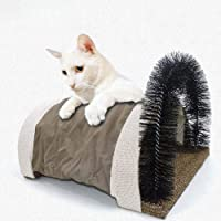 IMSHI Cat Bristle Arch with Scratching Board - Cat Scratcher and Grooming Arch, Self Groomer and Massager with Catnip, Gentle Fur Brushing, Perfect for Playing and Scratching