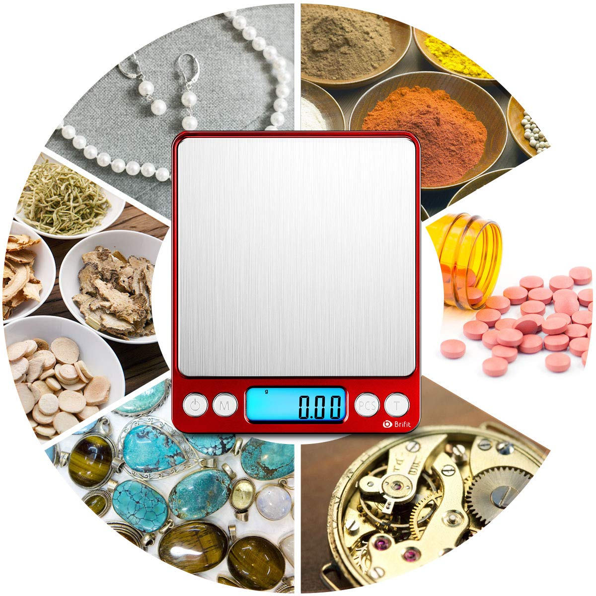 [2019 New] Brifit Digital Kitchen Scale, 500g/ 0.01g Mini Pocket Jewelry Scale, 100g calibration weight, Cooking Food Scale, Back-Lit LCD Display, 2 Trays, 6 Units, Auto Off, Tare, Stainless Steel