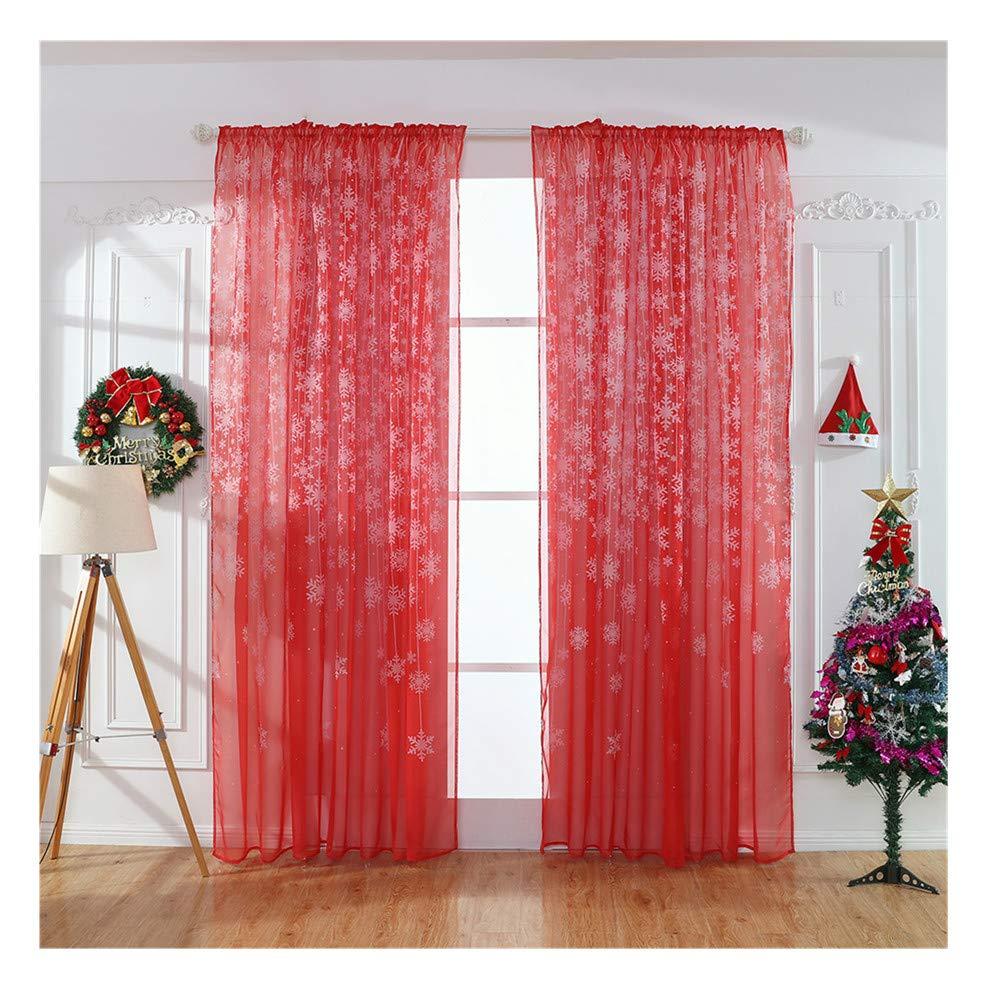 Promisen Christmas Curtains,1PCS Modern Christmas Window Snowflake Voile Drape Valance Curtains for Dining Room,Living Room,Bedroom,100cm x 200cm (Black)