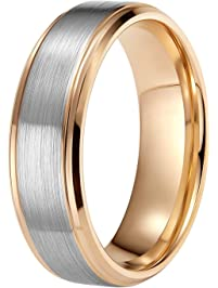 8mm tungsten mens wedding bands rose gold brushed two tone comfort fit - Mens Rose Gold Wedding Rings