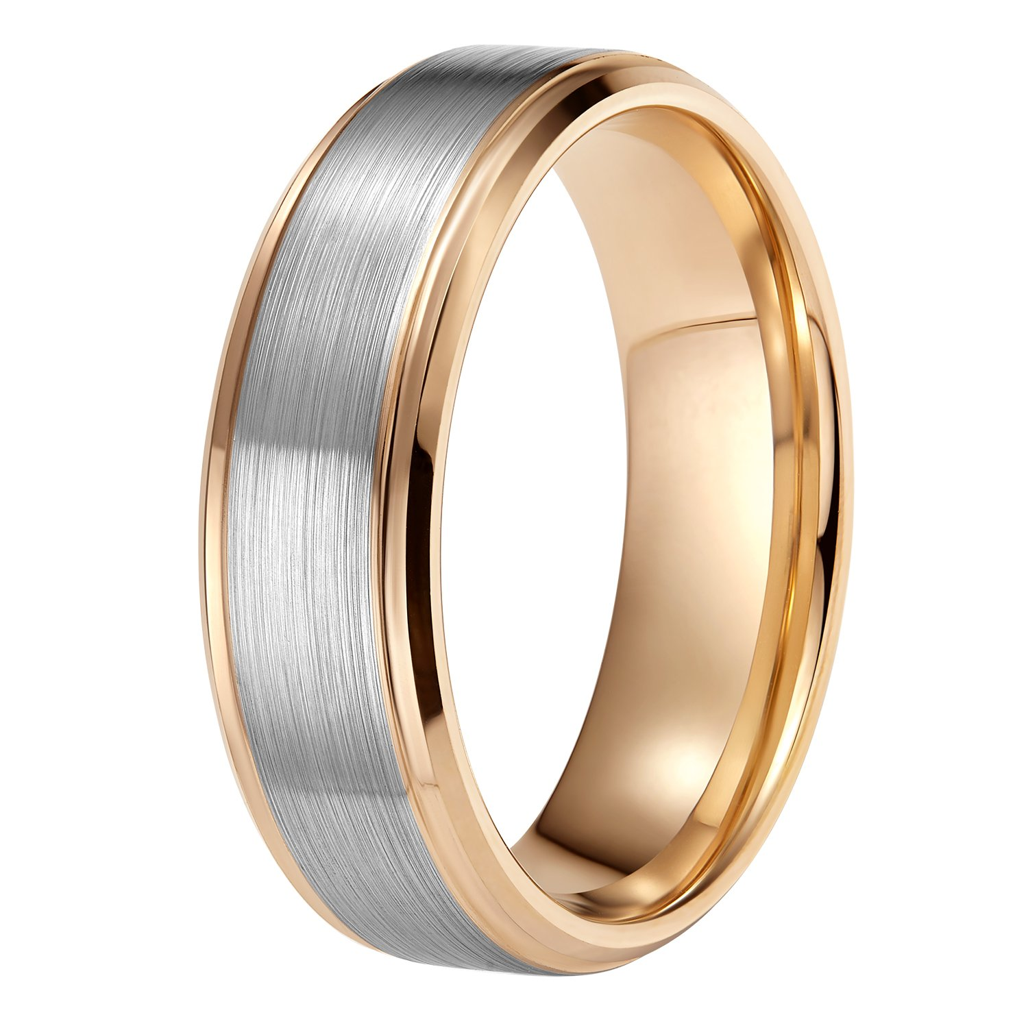 Shuremaster Mens Rose Gold Wedding Band 8mm Brushed Comfort Fit Tungsten Carbide Ring Size 10