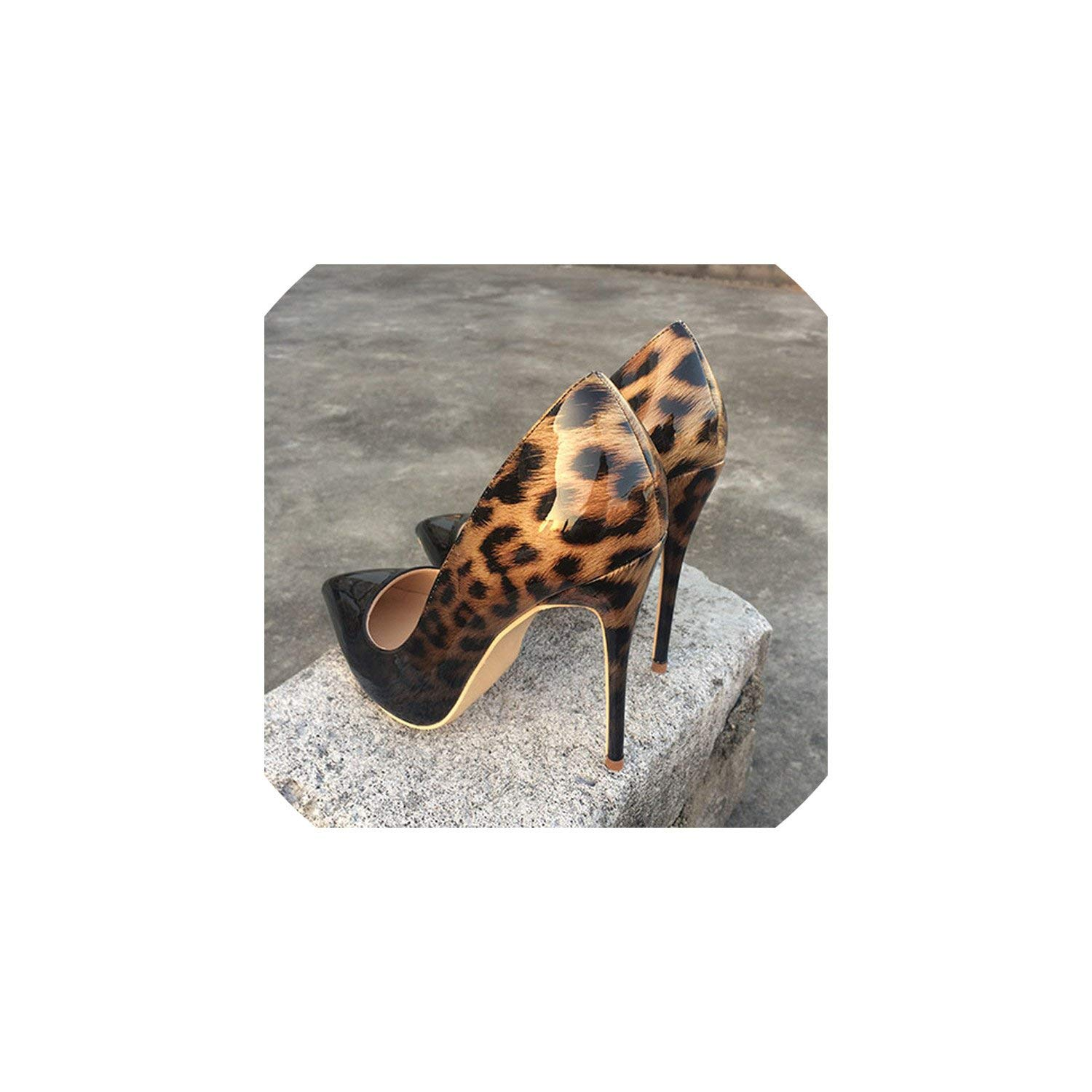 Black Leopard 12cm Perfect-looking Women Leopard Patent Leather Pumps Pointed Toe 8-12Cm Stiletto Ultra High Heel