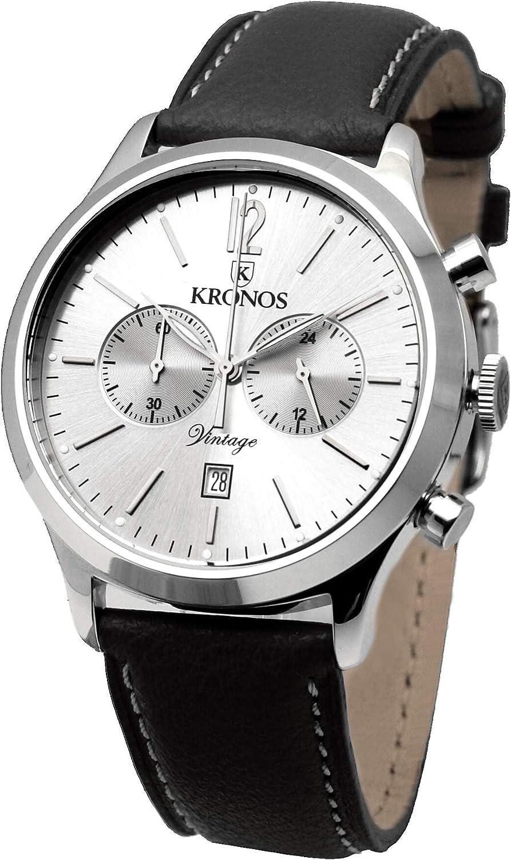 KRONOS - Vintage Chronograph Silver 938.105 - Reloj de Caballero de Cuarzo, Correa de Piel Negra, Color Esfera: Plateada