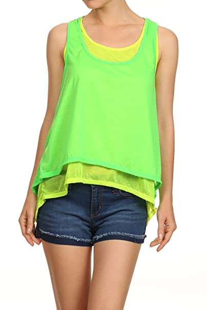d741f4cb0c2 MeshMe Womens Neon Green Yellow Sleeveless Knit Two Layered Trapeze Tank Top