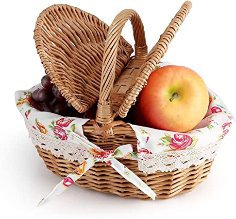 COTZFOZ Caja de Almacenamiento de Picnic de Mimbre Cesta de Fruta Rota Snacks Té Cesta de Mimbre y el Trapo de Color Cesta de Madera de Almacenamiento con Tapa: Amazon.es: Hogar