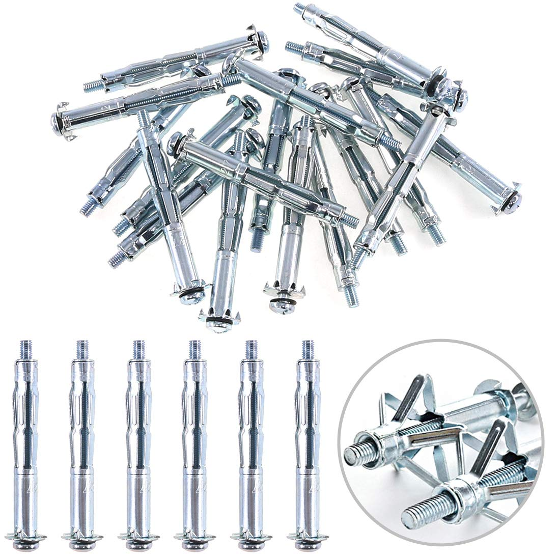 Glarks 30Pcs 5x65MM Heavy Duty Zinc Plated Steel Molly Bolt Hollow Drive Wall Anchor Screws Set for Drywall, Plaster and Tile (M5x65)