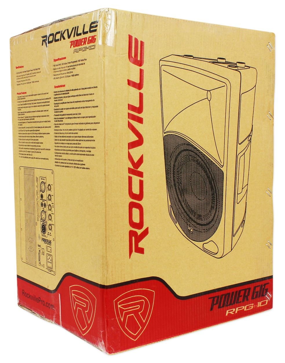 Pair Rockville Power Gig RPG10 10'' Powered Active 1200 Watt 2-Way DJ PA Speakers by Rockville