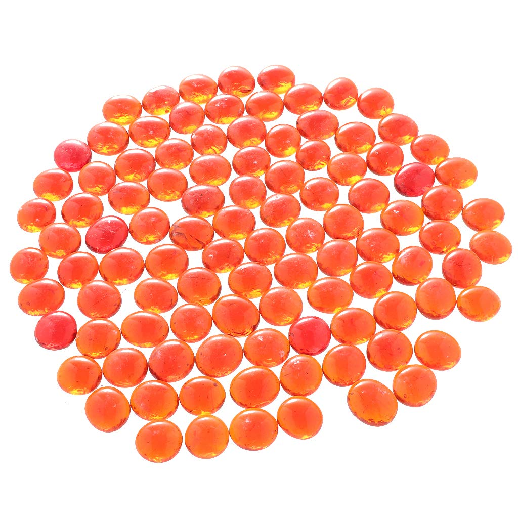 Fityle 100Pcs Beautiful Table Scatters Marbles Balls Flat Botton Fish Tank Pebbles Glass Crystal Stones Light Orange by Fityle