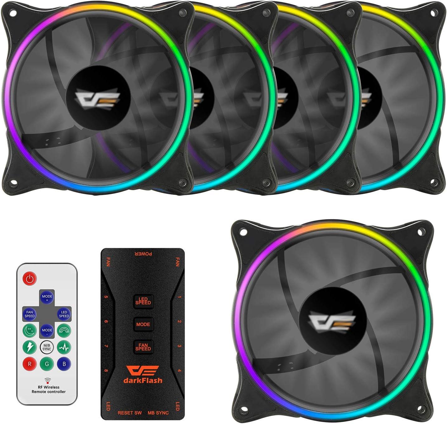 darkFlash 120mm RGB LED Case Fan for PC Cases CPU Cooling Fan Water Cooling Fan Addressable RGB Case Fan (MR12 5 Pack)