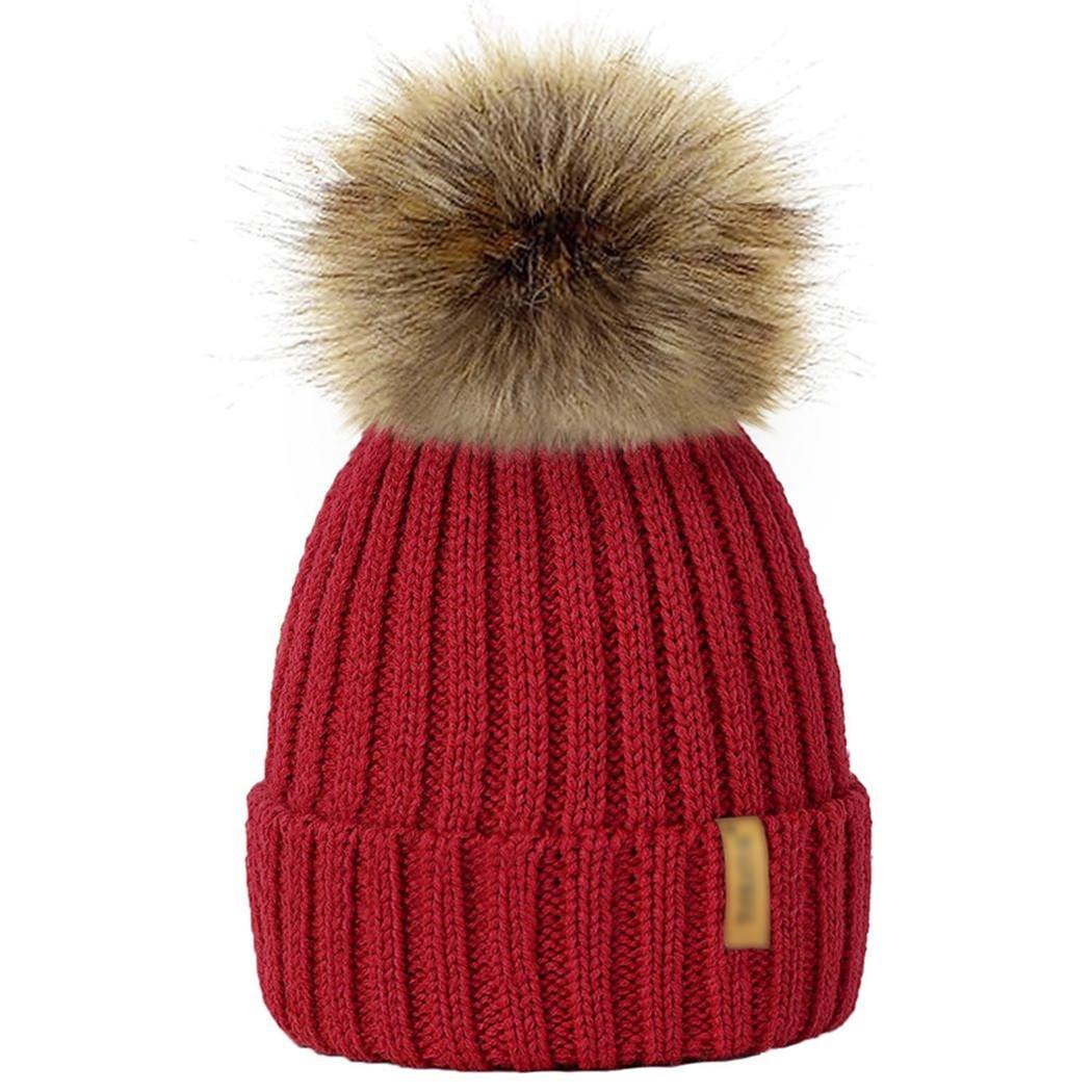 MIOIM Parent-child Baby Hat Winter Knitted Beanies Faux Fur Pompom Hat Bobble Ski Cap S2302784