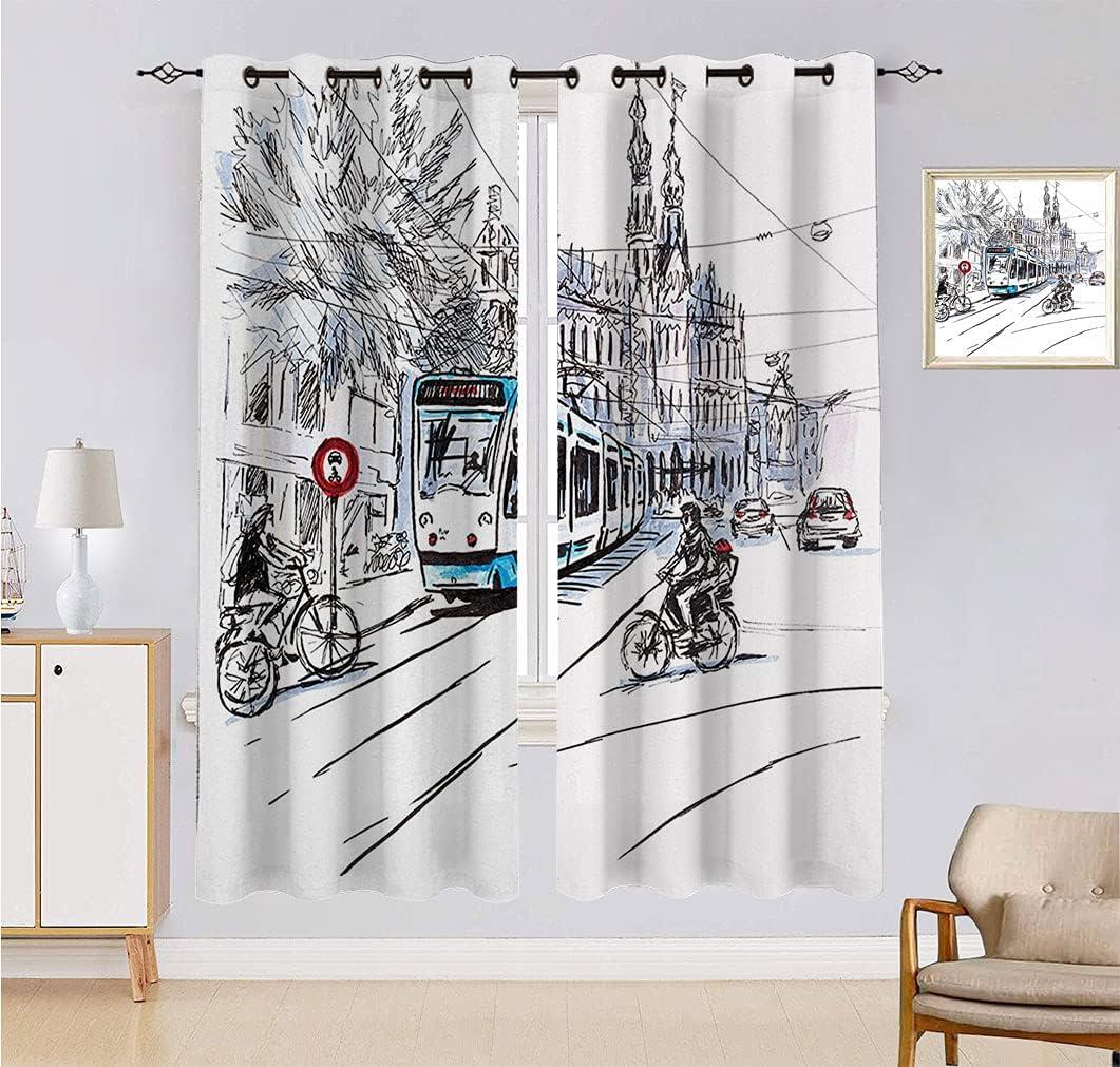 Alandana Sketchy - Cortinas opacas, diseño de tranvía y ciclistas de Amsterdam, diseño urbano de los Países Bajos, 2 paneles, 27.5 pulgadas de ancho x 40 pulgadas de largo, color negro, azul y rojo