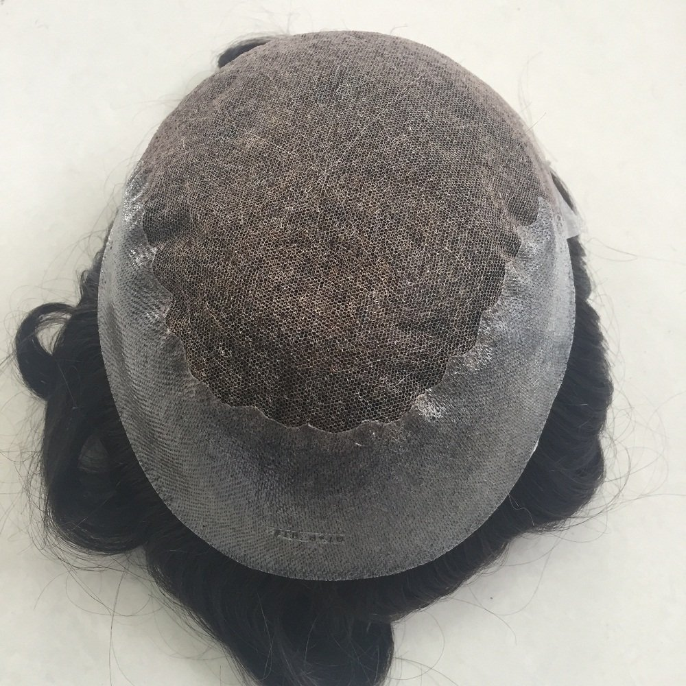 Mens Toupee Foryang Lace With Skin Human Hair Pieces Toupee Hair Replacement System For Men 8x10 Off Black 1B