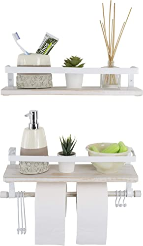 Kaliza Floating Shelves Wall Mounted Shelves, Rustic D cor for Bathroom, Bedroom, Kitchen, Living Room Wooden Storage Shelves Storage Rack Incredibly Easy to Install – 2 Pack White