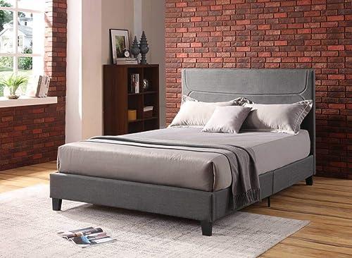 Hodedah Full-Size Linen Upholstered Platform Bed
