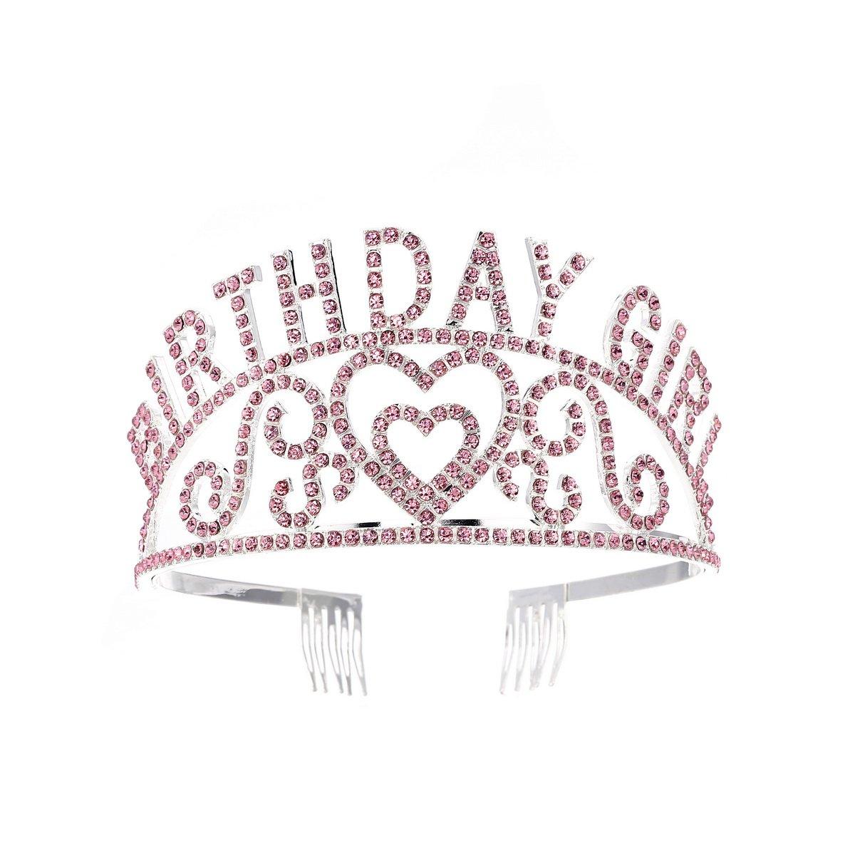 FF Pink Rhinestones Birthday Girl Tiara Crown for Prom