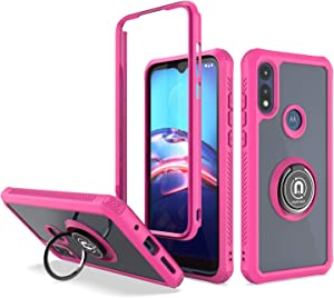 Osophter for Moto E 2020 Case,Moto E Case Back Clear Phone Cover with Magnetic Ring Car Kickstand Full-Body Protective Built-in Screen Protector for Motorola Moto E 2020(Rose-Pink-Clear)
