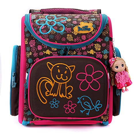 e509023601 Image Unavailable. Image not available for. Colour  Delune Folding School  Backpack for Kids Orthopedic Brown Cat Bookbag for Girls