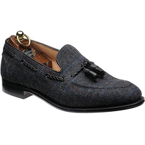 Herring Exford Tweed - Mocasines de Tela de Tweed y Pantorrilla Negra, Color Negro, Talla 39,5 EU: Amazon.es: Zapatos y complementos