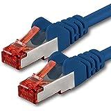 50m - bleu - 1 pièce - CAT6 Câble Ethernet - Câble Réseau RJ45 | 10 / 100 / 1000 Mo/s | câble de Patch | LAN Câble |CAT 6 | S-FTP | double blindage | PIMF | 250 MHz | sans halogène | compatible avec CAT 5 / CAT 6a / CAT 7 | pour le switch, routeur, modem, Patchpannel, point d'accès, panneaux de brassage