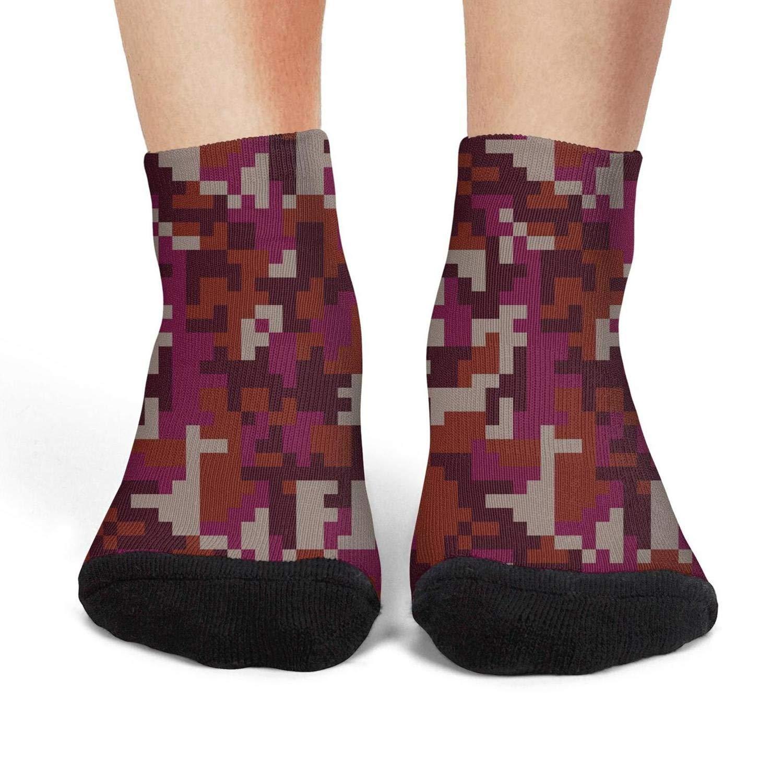 Mens low cut athletic Ankle sock pink digital camo Lightweight Short Sock