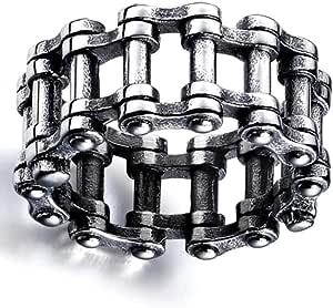 htrdjhrjy - Anillo de Cadena de Acero Inoxidable Estilo Steampunk, Estilo gótico, para Motocicleta, Moto, Moto, Color Plateado + Negro, Talla 7 a 12
