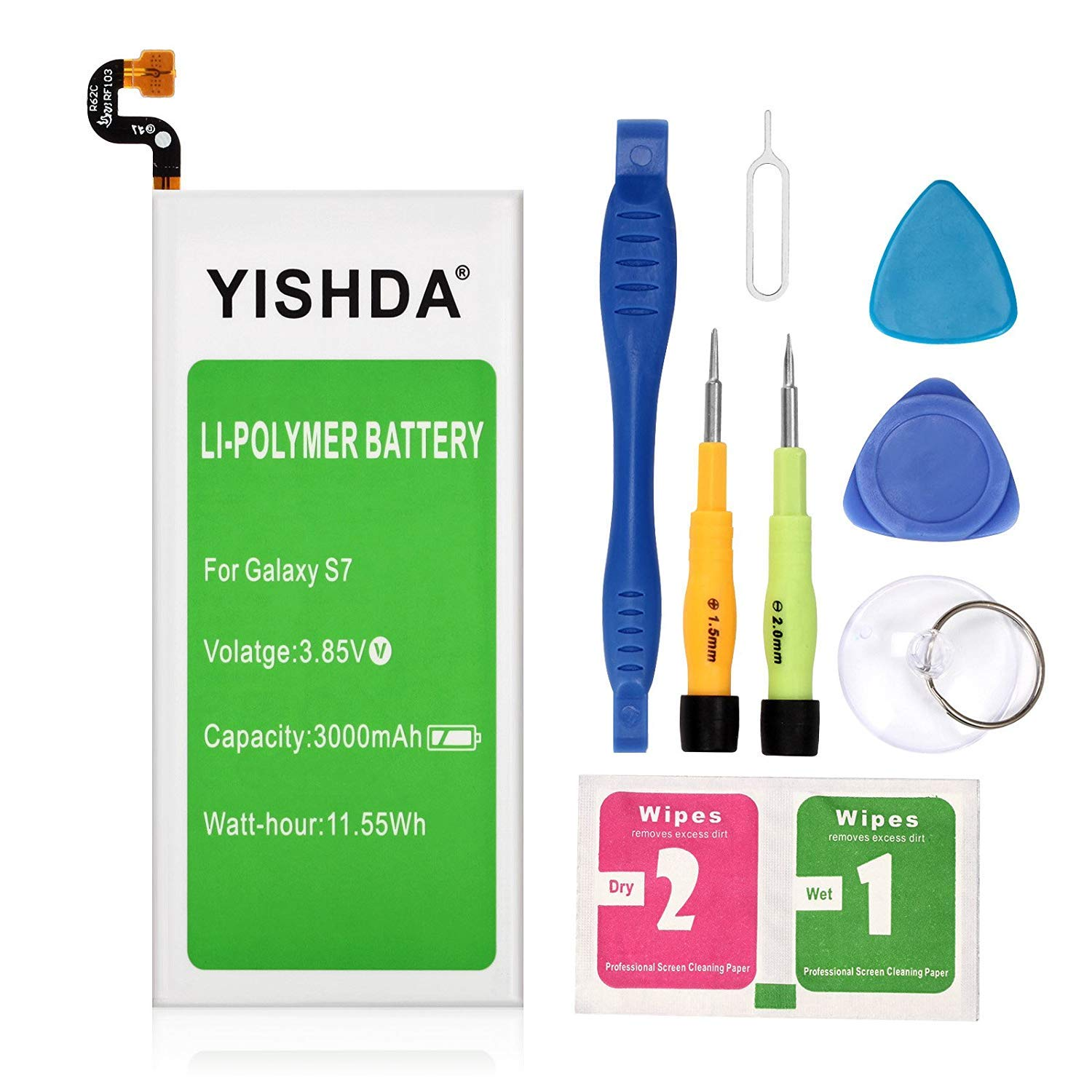 Galaxy S7 Battery | YISHDA 3000mAh Replacement EB-BG930ABE Battery for Samsung Galaxy S7 SM-G930 G930V G930A G930T G930P G930F with Repair Tool Kit| Samsung S7 Spare Battery [18 Month Warranty] by YISHDA