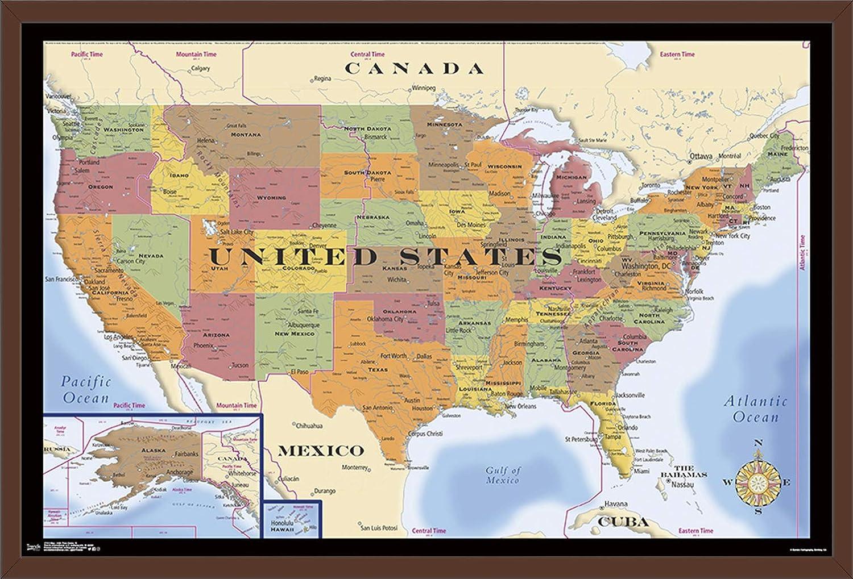 Amazon.com: Trends International Map - USA Time Zones 18 ...