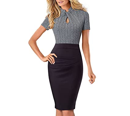 Running-sun Vintage Color Patchwork Wear Work Vestidos Bodycon Office Business Sheath Women Dress,