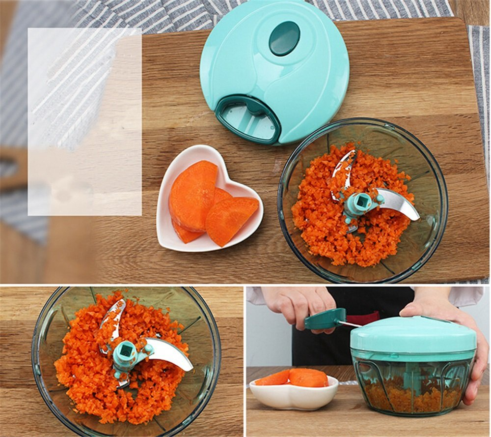 MAXGOODS 900ML Picadora Manual de Verdura Cortador de Verduras con 5 Cuchillas de Acero Inoxidable para Picar Verduras Frutas Carne Cebolla Jengibre Ajo Ensalada Hacer Comida Suave a Bebé Pequeños