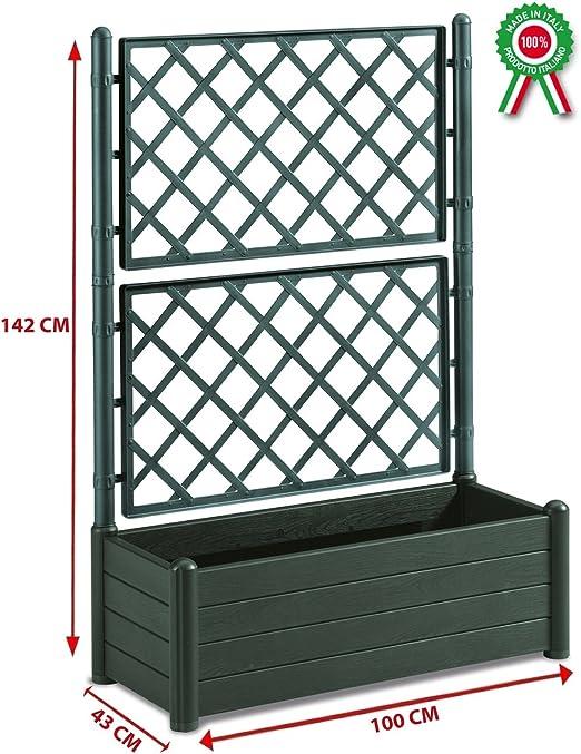 Grate In Plastica Per Giardino.Fioriera Rettangolare Con Grata Porta Vaso Separe Divisorio In