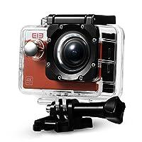 Elephone Action Camera WiFi 4K Sony 16MP 1080p/60fps Waterproof 30M Kit Accessori per Sport Esterni, Tempo Libero, Immersioni Subacquee, Nuoto, Corsa, Ciclismo- Arancione