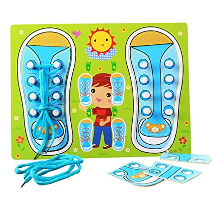 Home Kids Baby Montessori Practical Life Wood Lacing Sneaker Shoelaces Learn To Tie A Shoe Preskool Educational Toys Fine Motor Skill