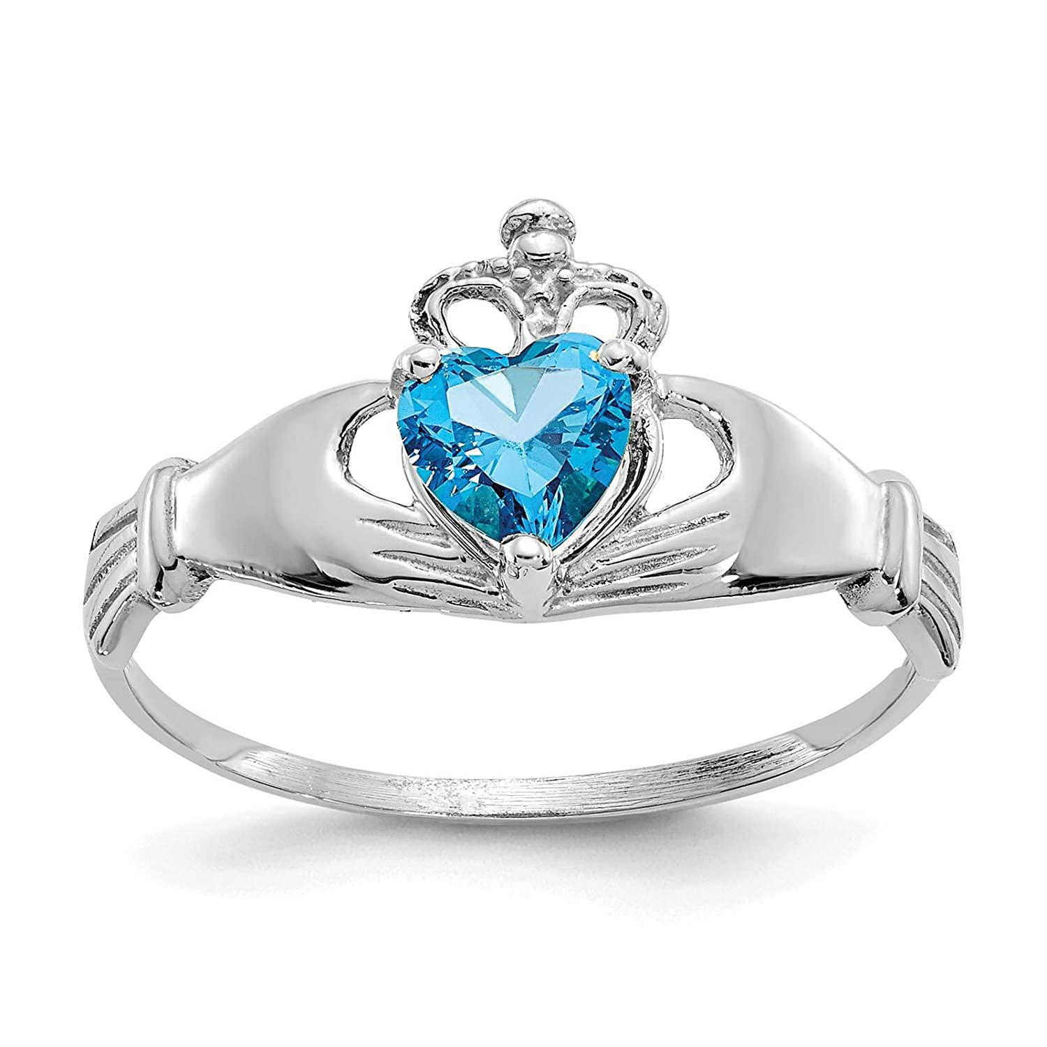 14K White Gold Polished CZ December Stone Claddagh Heart Ring Size 7