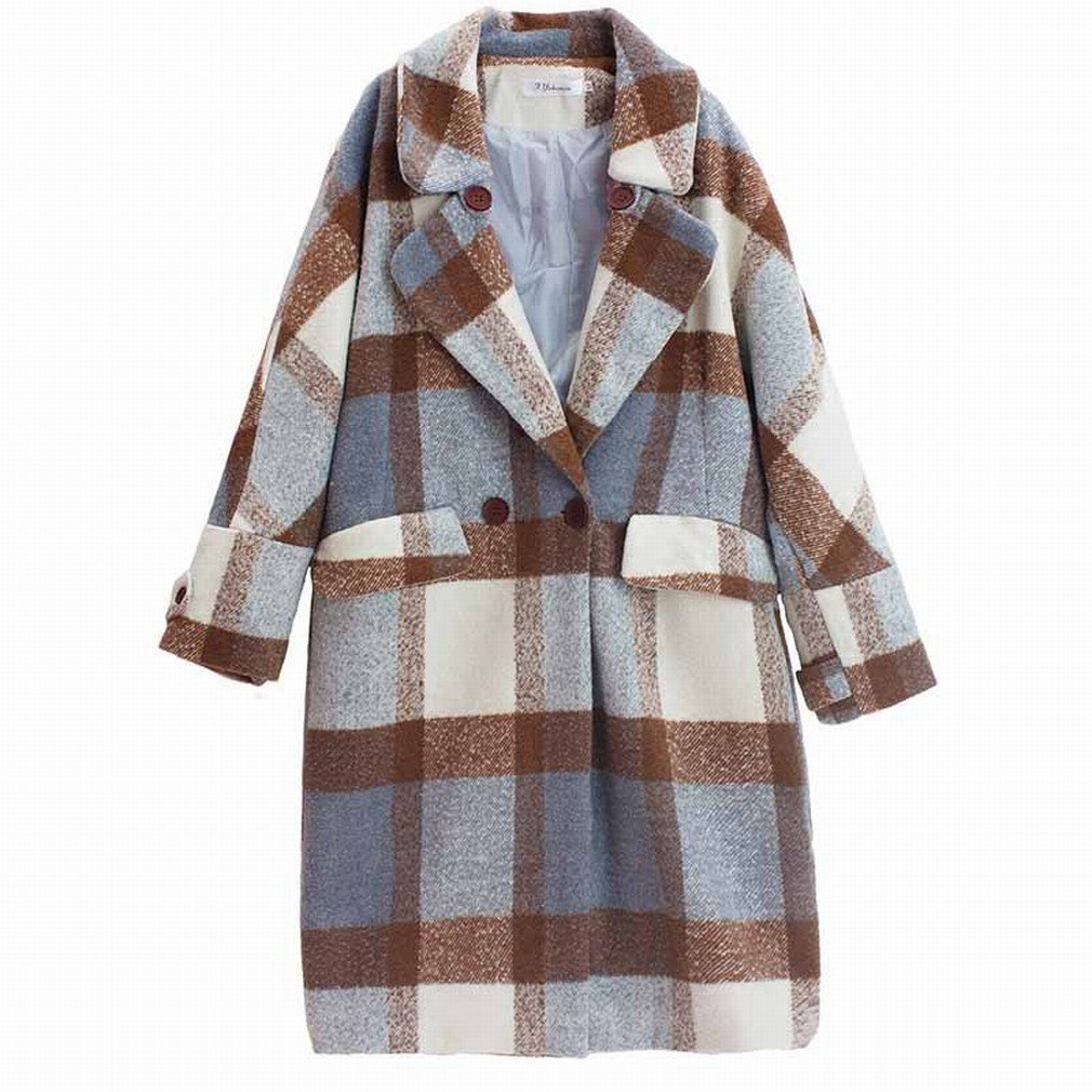 A BTTB in The Long Section of The Korean Woolen Coat Women Autumn and Winter Loose Loose Lattice Knees Jacket Coat Tide