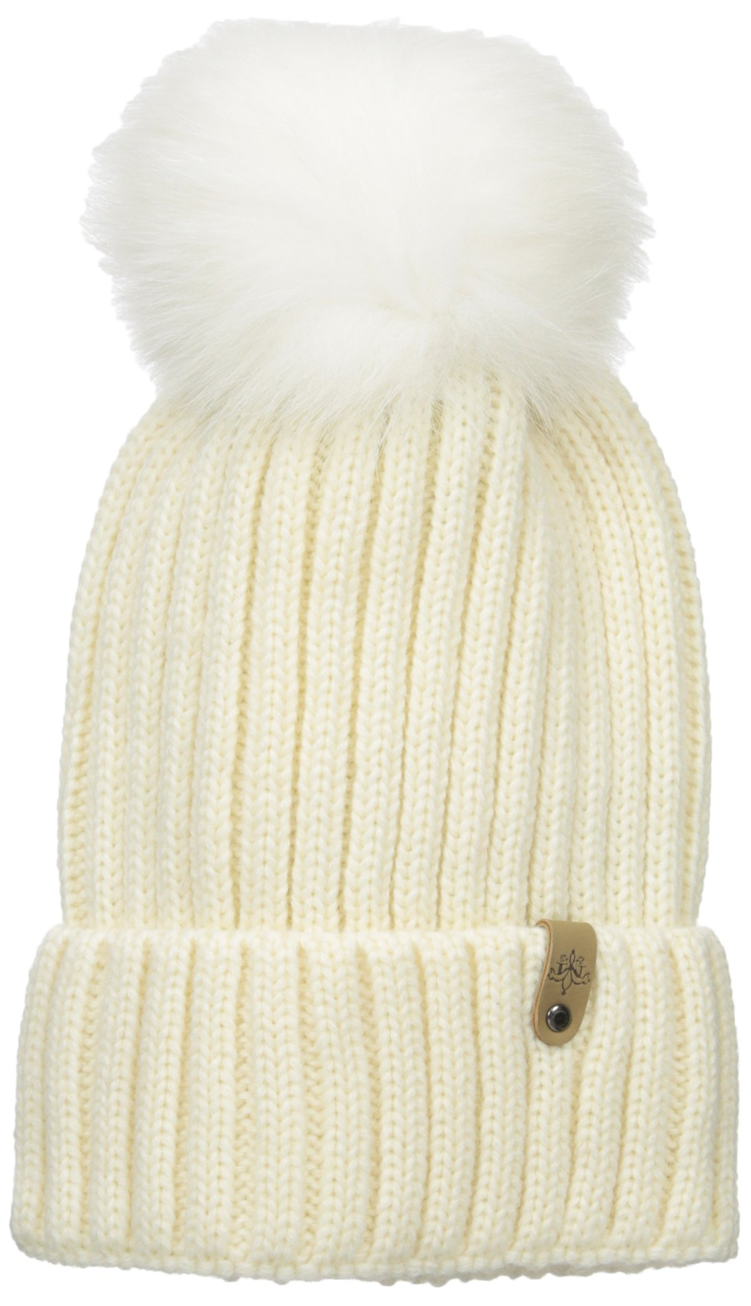 Mackage Women's Mac Wool Acrylic Hat with Fur Pom Pom, Off-White, One Size