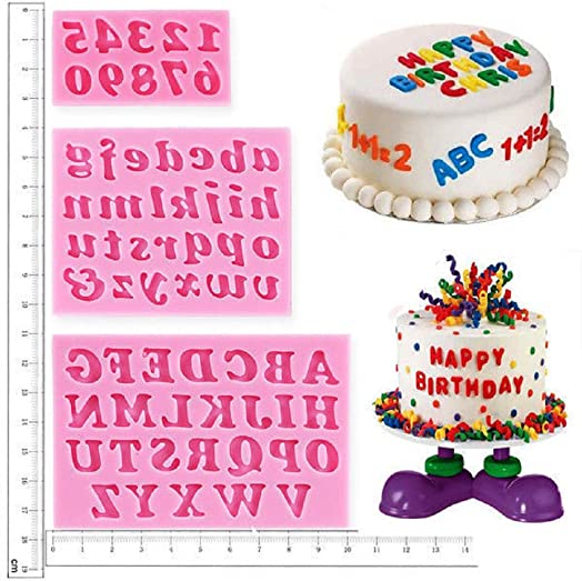 Cake Decorating Letters, Alphabet Number Stencils Birthday Wedding  Decorations Shape And Bake Silicone Mould For