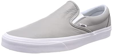 Vans Unisex Adults' Classic Slip on Trainers, Grey ((Leather)  Oxford/Drizzle Qd5), 7.5 UK 41 EU
