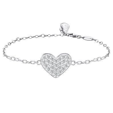 Bracelet avec cœur orné de pierre zirconium à l'intérieur pour femme en argent.