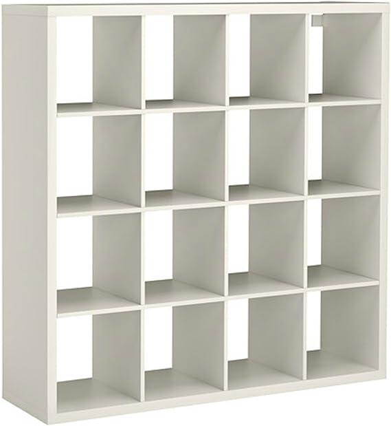 Ikea Expedit Kallax - Estantería de almacenamiento, color blanco, mueble con 16 unidades en forma cuadrada