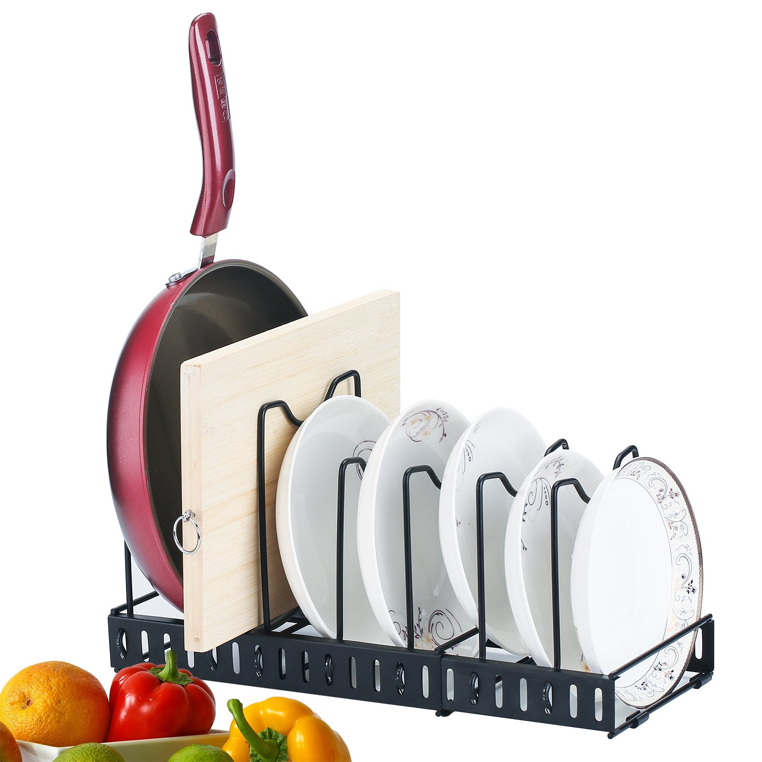 Expandable Kitchen Pan and Pot Organizer Rack: Stores 7+, Can Be Extended to 21.65'', Total 7 Adjustable Compartments, Pantry Cupboard Bakeware Plate Holder,black