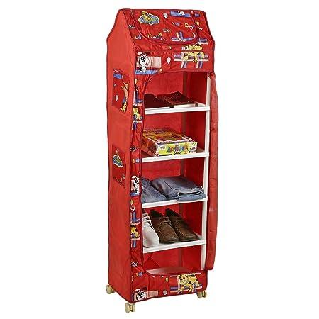 Archana Novelty Baby 6 Shelves Folding Wardrobe,Plastic (Red)