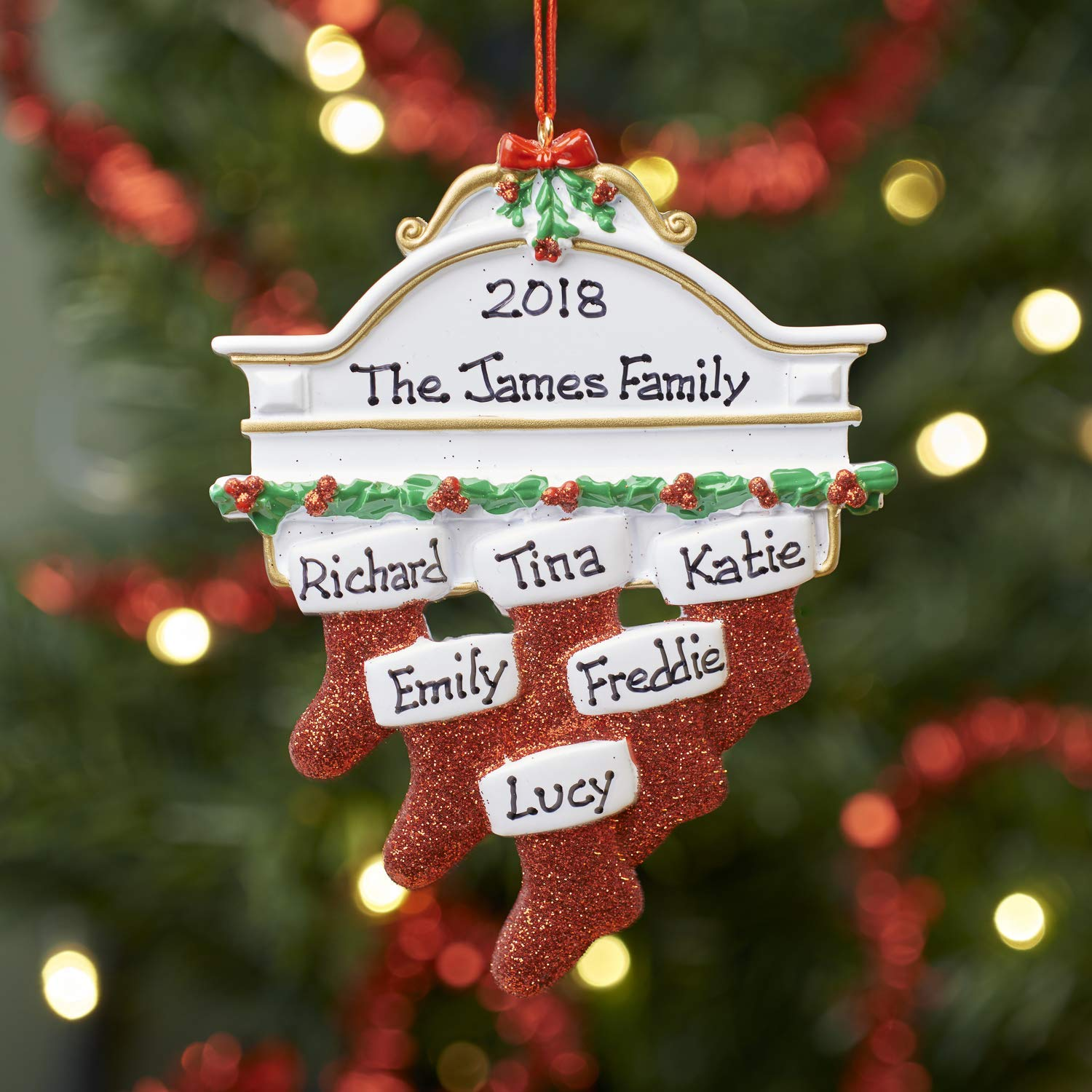 Personalised Family Christmas Xmas Tree Bauble Decoration Ornament