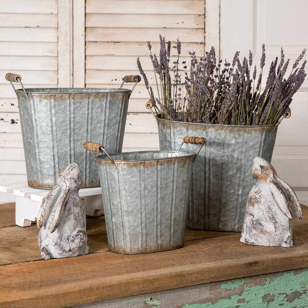 Colonial Tin Works Rustic Farmhouse Decor Tapered Oval Pails with Wood Handles Set of 3., Grey